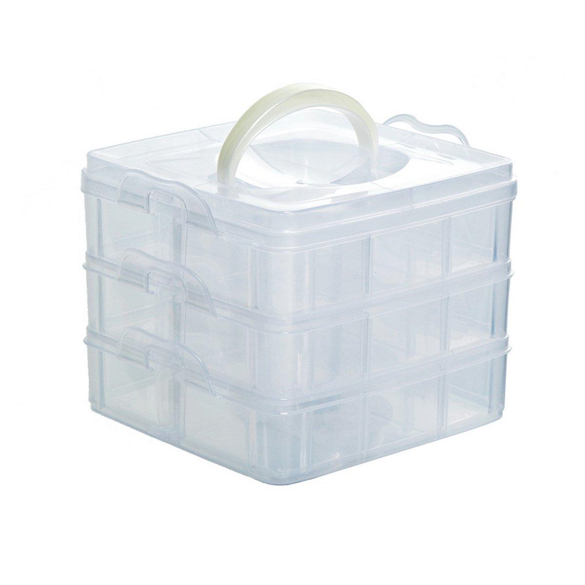 Amazon.com Housweety Transparent Storage Box Sewing Thread Bobbins Holder Needlecraft Organizer with 18 Compartments  sc 1 st  Amazon.com & Amazon.com: Housweety Transparent Storage Box Sewing Thread Bobbins ...