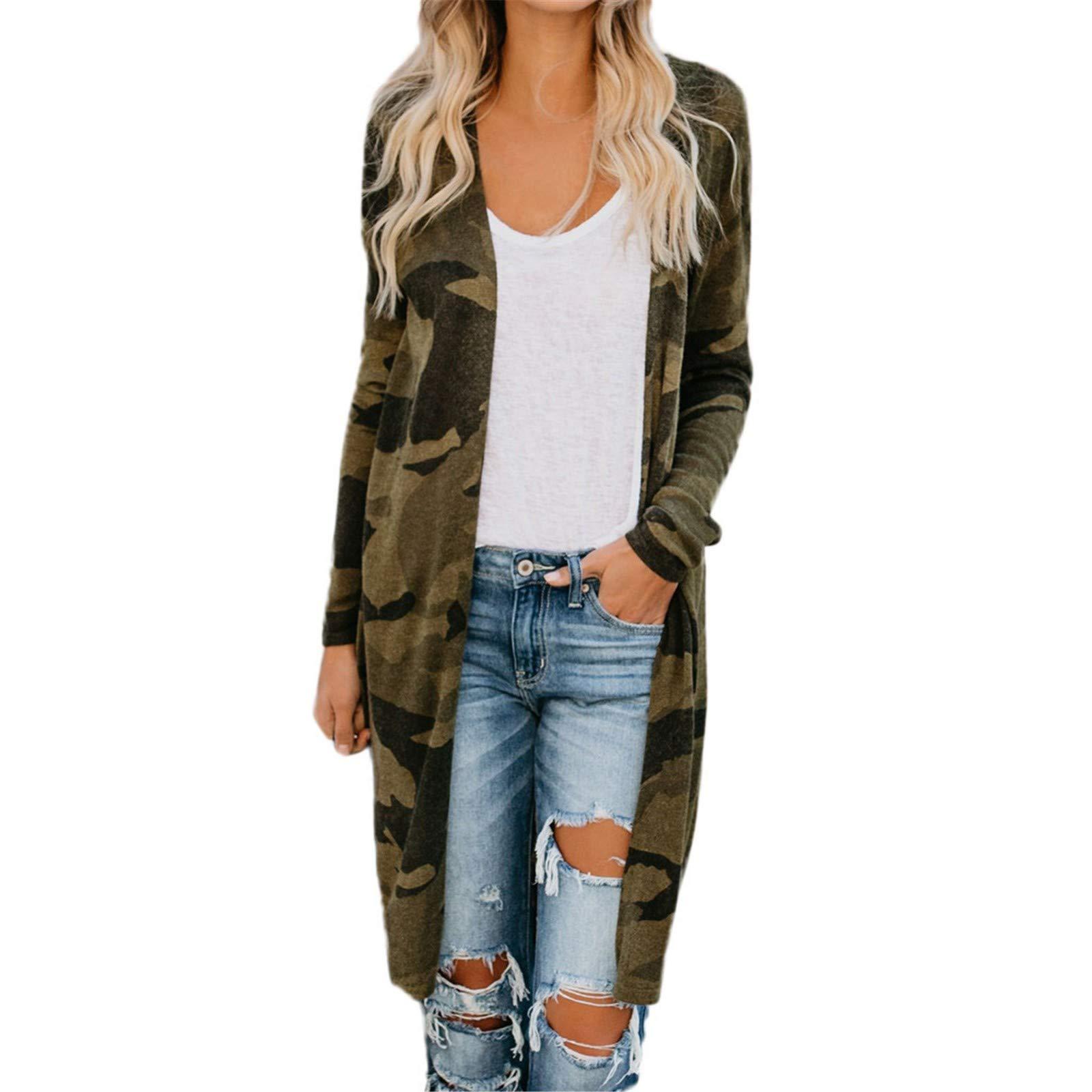 Women Long Cardigan Camouflage Long Sleeve Coat Leisure Leopard Print Outerwear Coat by Bookear Cardigan