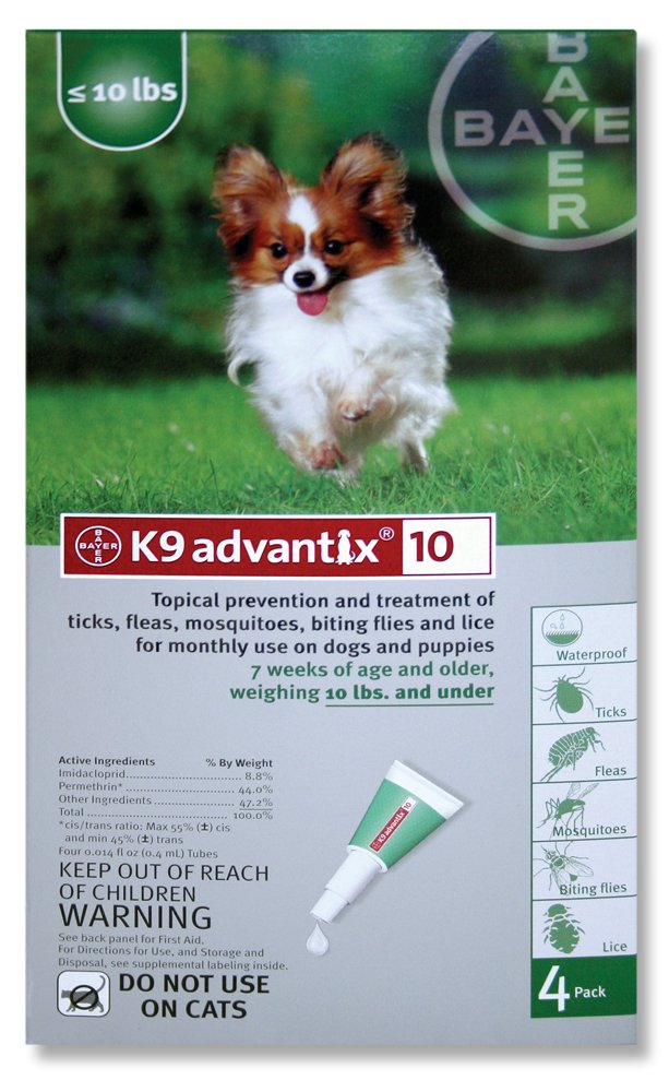 Bayer Animal Health K9 Advantix Flea Control for Dogs up to 10 Pounds (4 Applications)
