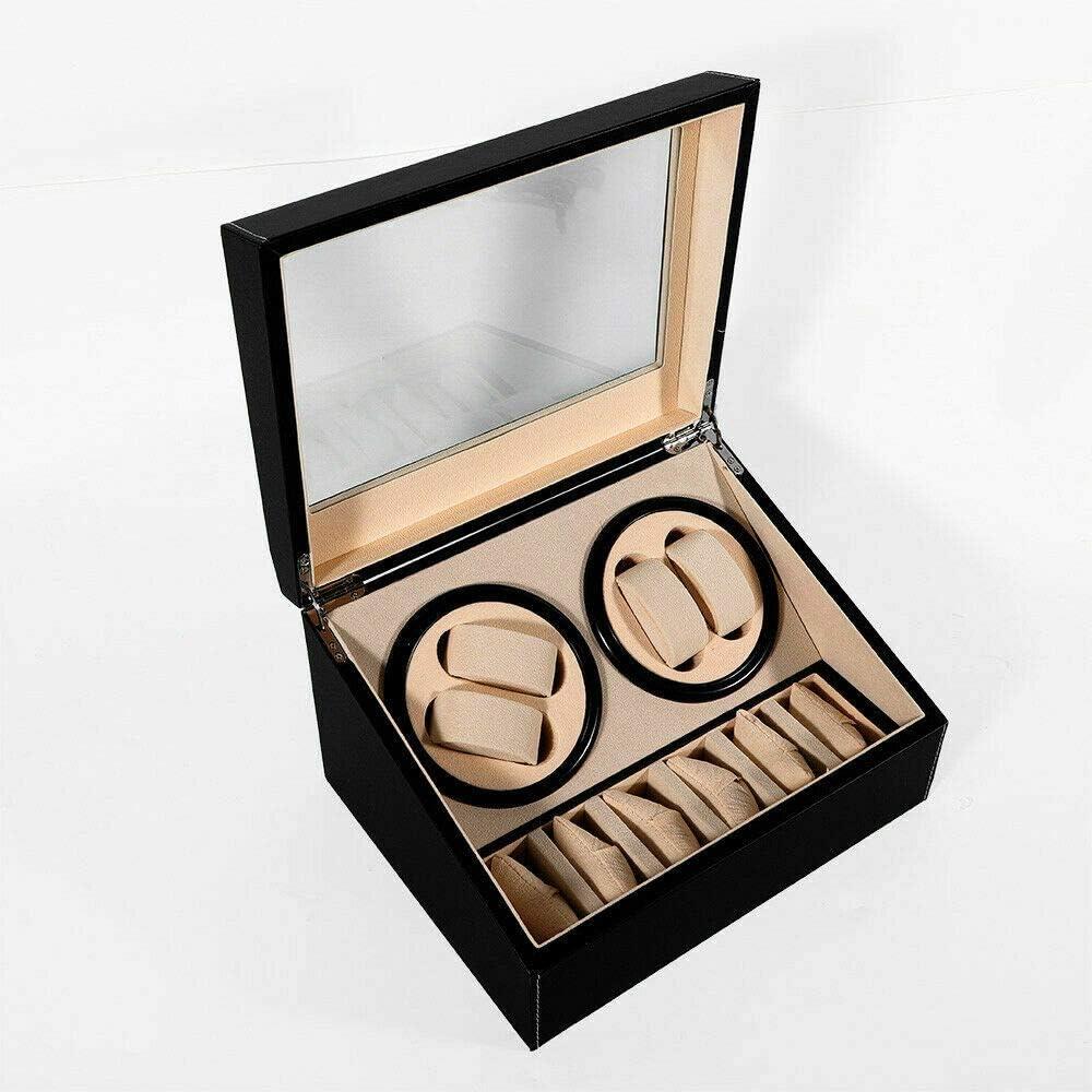 Reloj automático con movimiento de reloj 4 + 6, caja de reloj de poliuretano, caja para relojes, vitrina, caja de exhibición: Amazon.es: Relojes