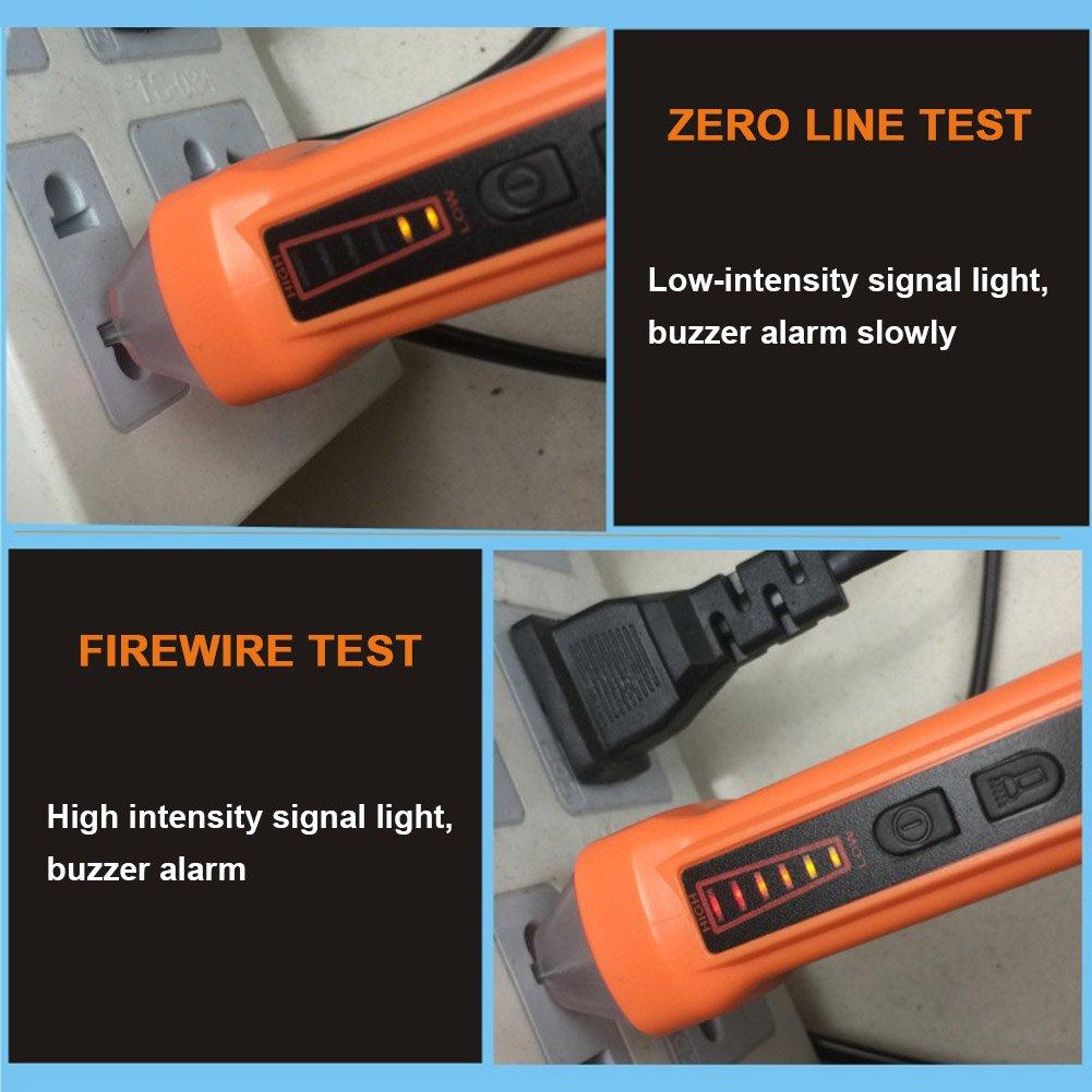 perg Transferencia sin Contacto Detector de Voltaje de Lápiz con Linterna LED 90 - 1000 V CA de Corriente Eléctrica de Detector de Metales Circulares Prueba ...