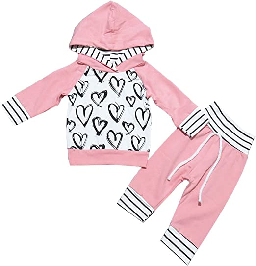 Miwear Baby Girls Floral Long Sleeve Hoodie Long Pants Headband Outfits Set