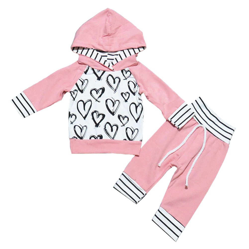 OUTGLE Newborn Baby Girl Heart Print Hoodie Top + Trouser Fall Clothing Set Outfits OUTFITS01
