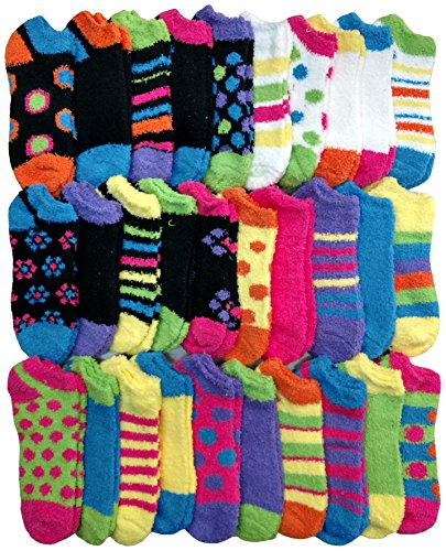 Fuzzy Ankle Socks - (30 Pairs) Womens Fuzzy Socks Crew Socks, Warm Butter Soft by excell