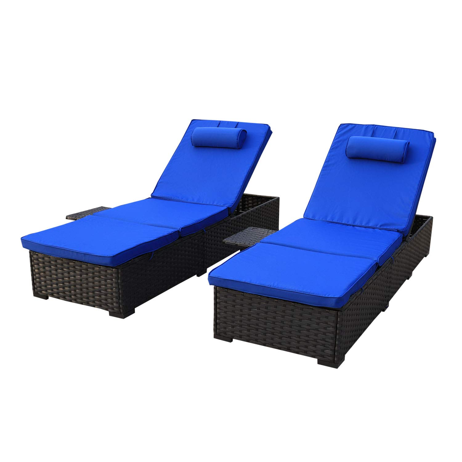 VALITA Outdoor Black Rattan Lounge - 2 Piece Patio PE Wicker Recliner Furniture Set Multi-Angle Adjustable Back and Side Shelf with Royal Blue Cushions