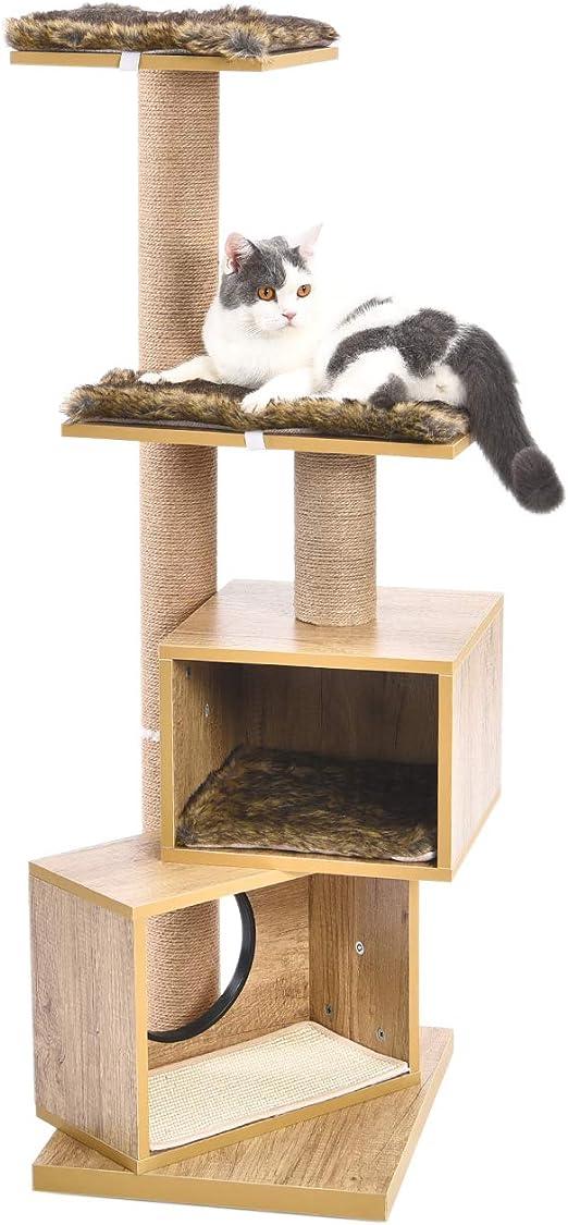 PAWZ Road Árbol para Gatos Escalador Rascador con Postes Recubiertos de Sisal Varias Plataformas Centro de Actividades para Gatos Torre Moderna con tapetes Lavables extraíbles Altura 124 cm: Amazon.es: Productos para mascotas