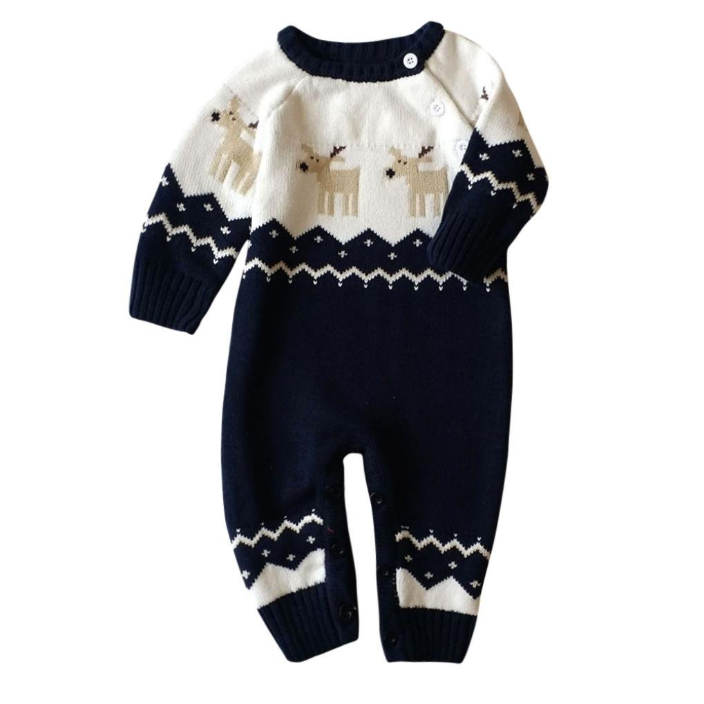 Gallity Xmas Knitted Cotton Romper Unisex Newborn Baby Overall Long Sleeve Christmas Deer Snowflake Sweaters Coat Jumpsuits