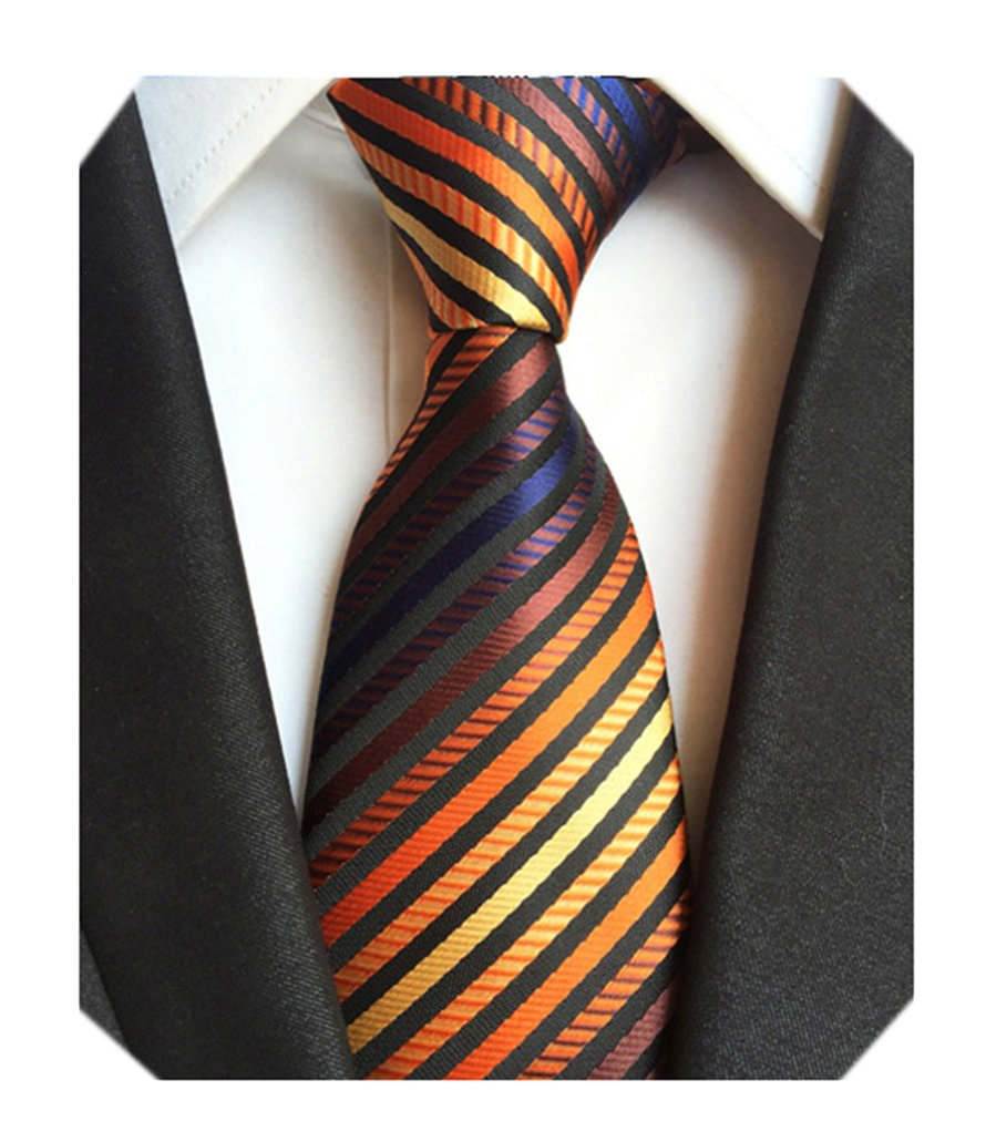 Secdtie Men's Narrow Stripe Pattern Tie Orange Navy Red Bronze Necktie LUD49