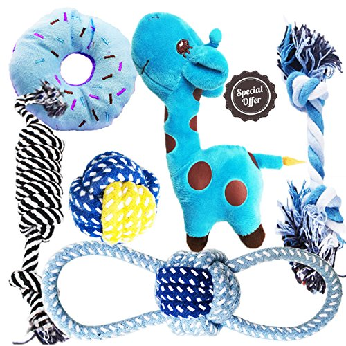 BUIBIIU Dog Toys Small Dog Chew Toys Dog Teething Toys Squeaky Toys Chihuahua Pomeranian Corgi and PoodlesToys 6 PCS ()