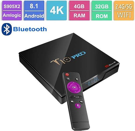 GALEI Andriod 8.1 TV Box, decodificador Bluetooth HD 4GB RAM + 32GB ROM WiFi 2.4G / 5.0G, Smart 4K Media Player con Control Remoto: Amazon.es: Hogar