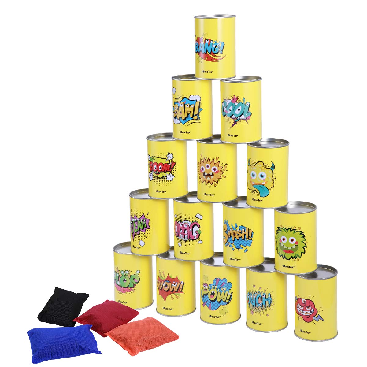 iBaseToy Party Games for Kids & Adults, Garden Games Tin Can Alley, Carnival Games Bean Bag Toss Game for Birthday Party-15 Tin Cans and 4 Beanbags Included by iBaseToy