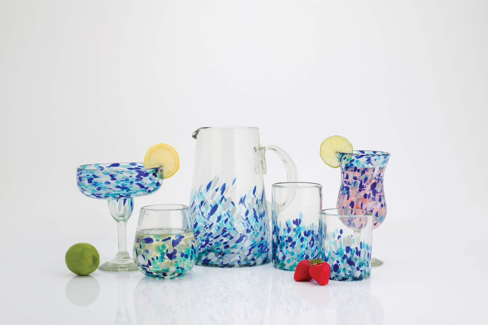 Amici Home 7MCR873S4R Bahia Hurricane Drinking Glass 16 Fluid Ounces Blue and White Ombre