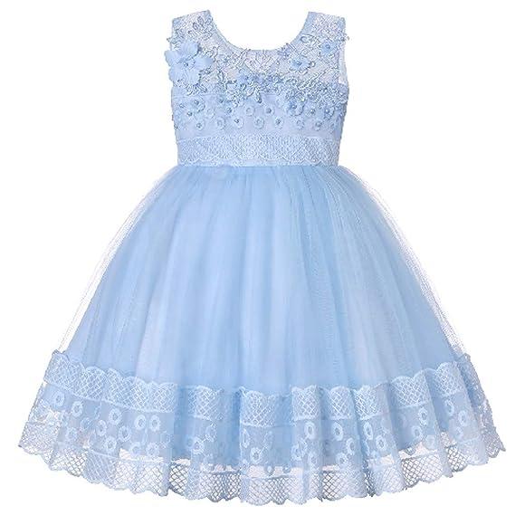 ZARLLE Vestido Elegante Boda Fiesta con Flores para Niña Vestido de Princesa Bowknot Comunión Cumpleaños Bola Pageant Paseo Baile Cóctel Fotografía Vestir: ...