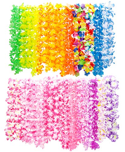 Hawaiian Leis (50 count) for Kids or Adults, Assorted Colors, Bulk Luau Party Supplies & Favors -