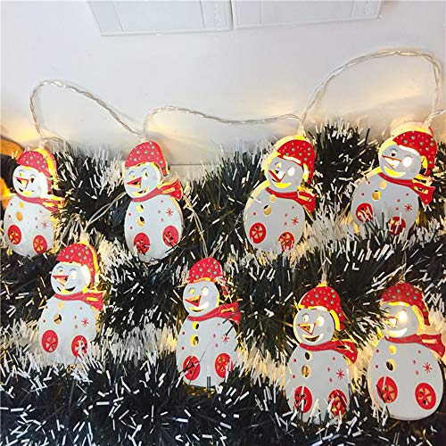 (RuiLI Snowman 10 led Xmas Tree Light String Battery Operated for Bedroom Window Home Patio Garden Party_B)