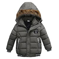 CHshe Baby Hoodie Button Down Zipper Pocket Winter Thick Coat Jacket Newborn Infant Toddler Keep Warm Polyester Outwear and Cotton in Padding for 2-5 Years Old