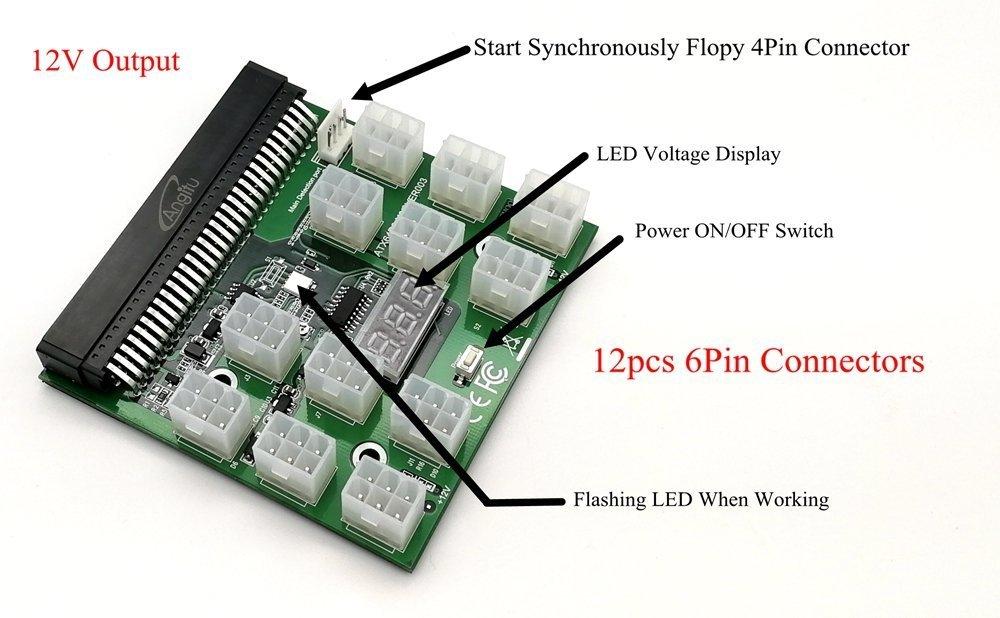 Tekit Ethereum Mining ETH ZEC LTC 1200W/750W Server PSU Power Supply Unit to GPU Breakout Board Adapter + 12pcs 6-Pin PCIe to (6+2Pin) PCIe Graphics Card Power Cables (GPU Breakout Board+12PCS cable) by tekit (Image #4)