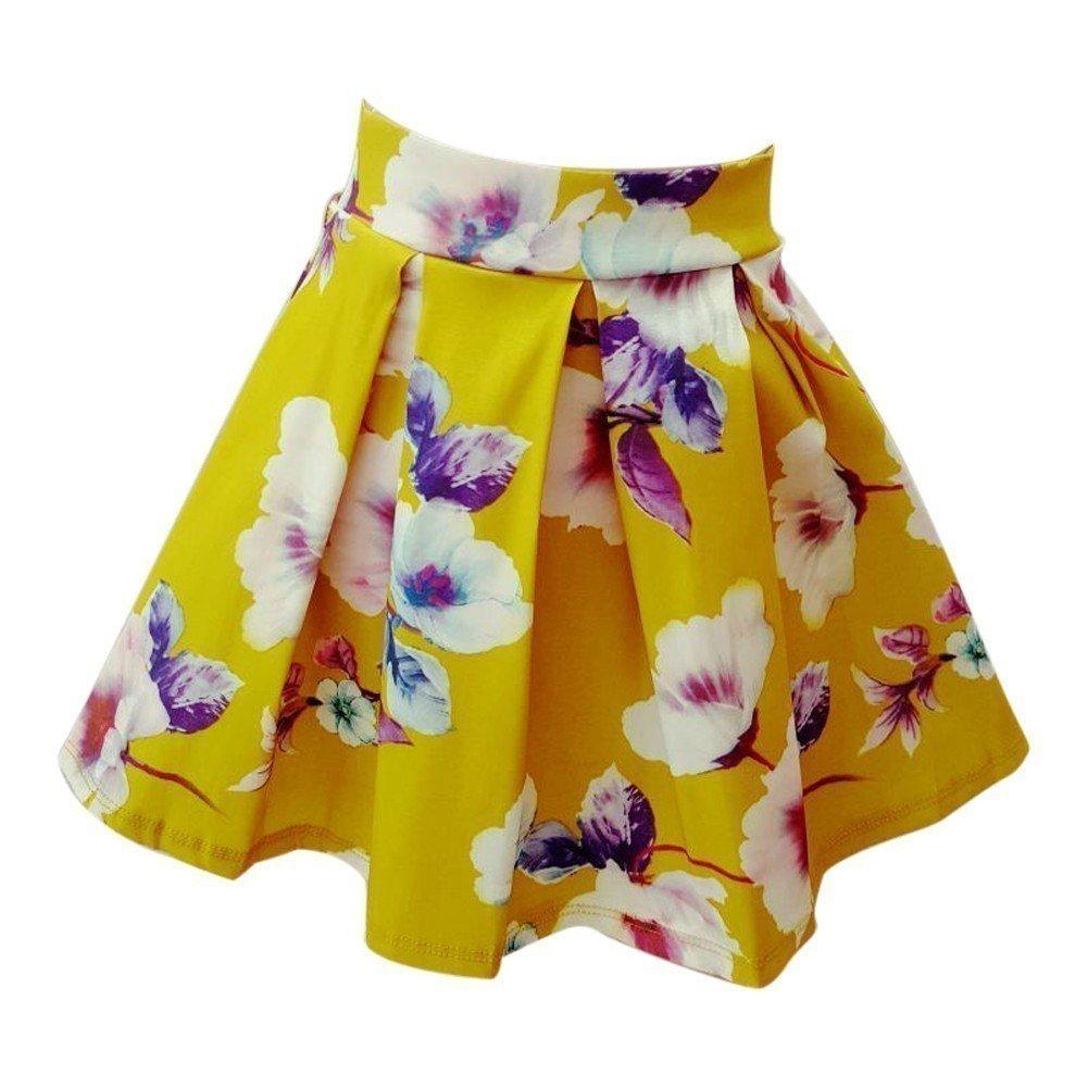 Sinai Kids Big Girls Green Floral Print Pleated Flared Skirt 12