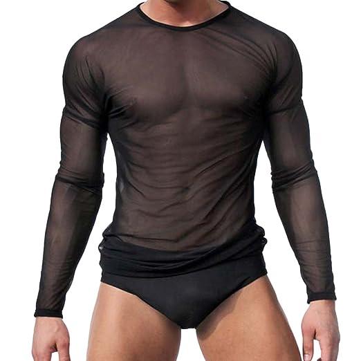 47da8301 T-shirt Men Sexy Transparent Sheer See Through Mesh Long Sleeve T shirt Tops  at Amazon Men's Clothing store: