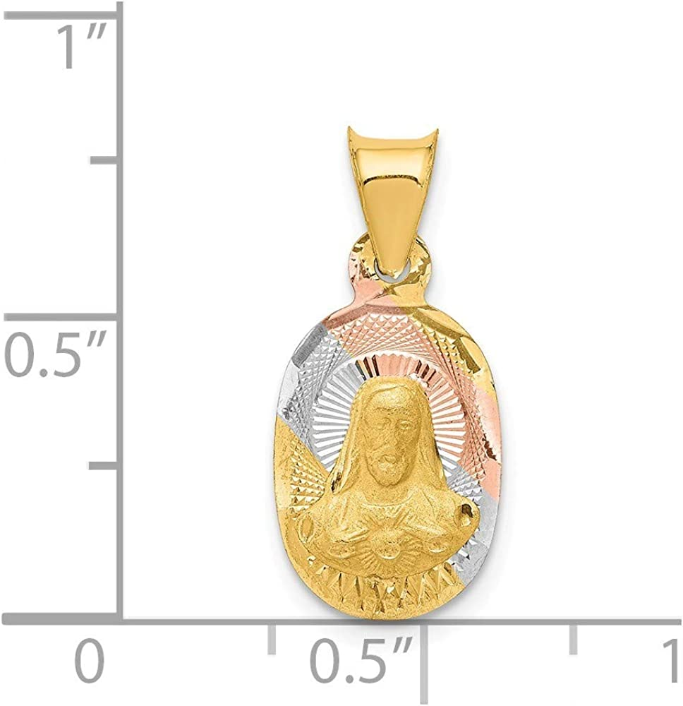 14k Yellow Gold and Rhodium Polished And Sparkle-Cut Sagrado Corazon Oval Pendant