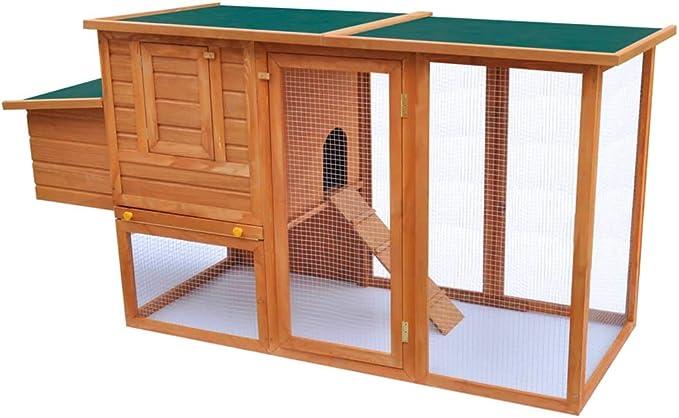vidaXL Jaula de Pollo de Exterior Casa de Gallina con 1 Jaula de Huevo Madera
