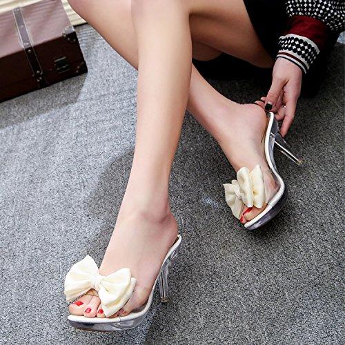 ZYUSHIZ L'été en plein air sandales pantoufles Plage Mme Noeud Papillon Version coréenne de diamants synthétiques ,38EU,noeud papillon blanc
