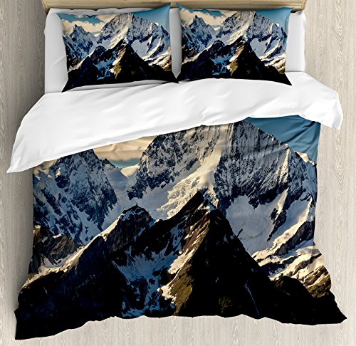 Set King Size by Ambesonne, Snowy Mountain Summit Clouds in the Sky Tranquility in Wild Nature Theme, Decorative 3 Piece Bedding Set with 2 Pillow Shams, White Black Blue (Summit King)