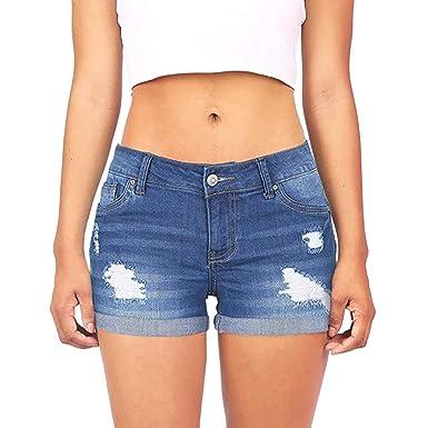 la clientèle d'abord plus de photos 100% authentifié Alaso Short en Jean Femme Liquidation Été Casual Jeans ...