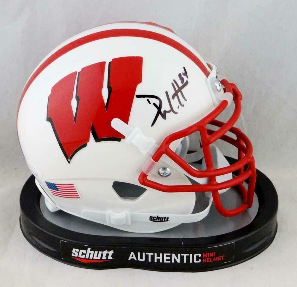 TJ Watt Signed Wisconsin Badgers Red Schutt Mini Helmet JSA W// Holo Auth *Silver