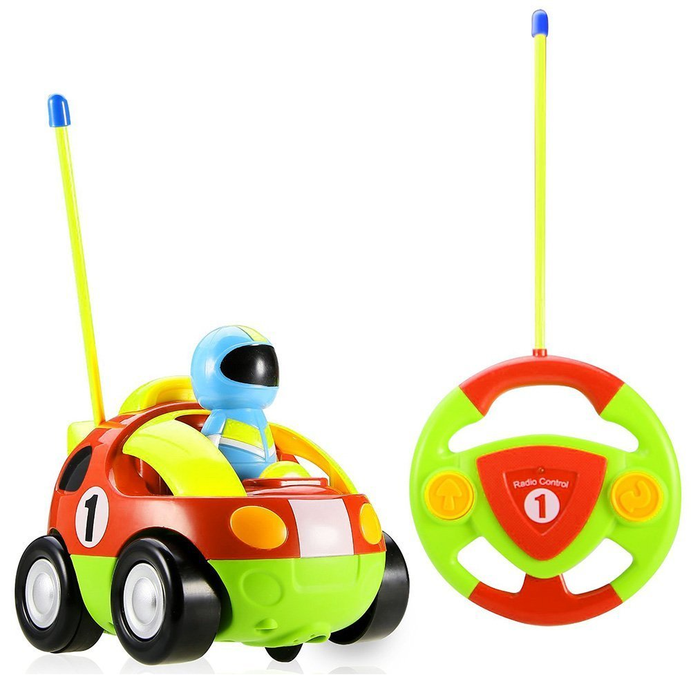 ERolldeeP-BaBrt RC Cartoon Race Car with Action Figure Radio Control Toy with Music Best Christmas Gift for Toddlers Kids