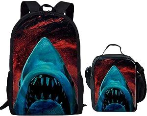 HUGS IDEA Teen Boys School Bag Set Animal Shark Backpack Bookbag with Picnic Lunch Box