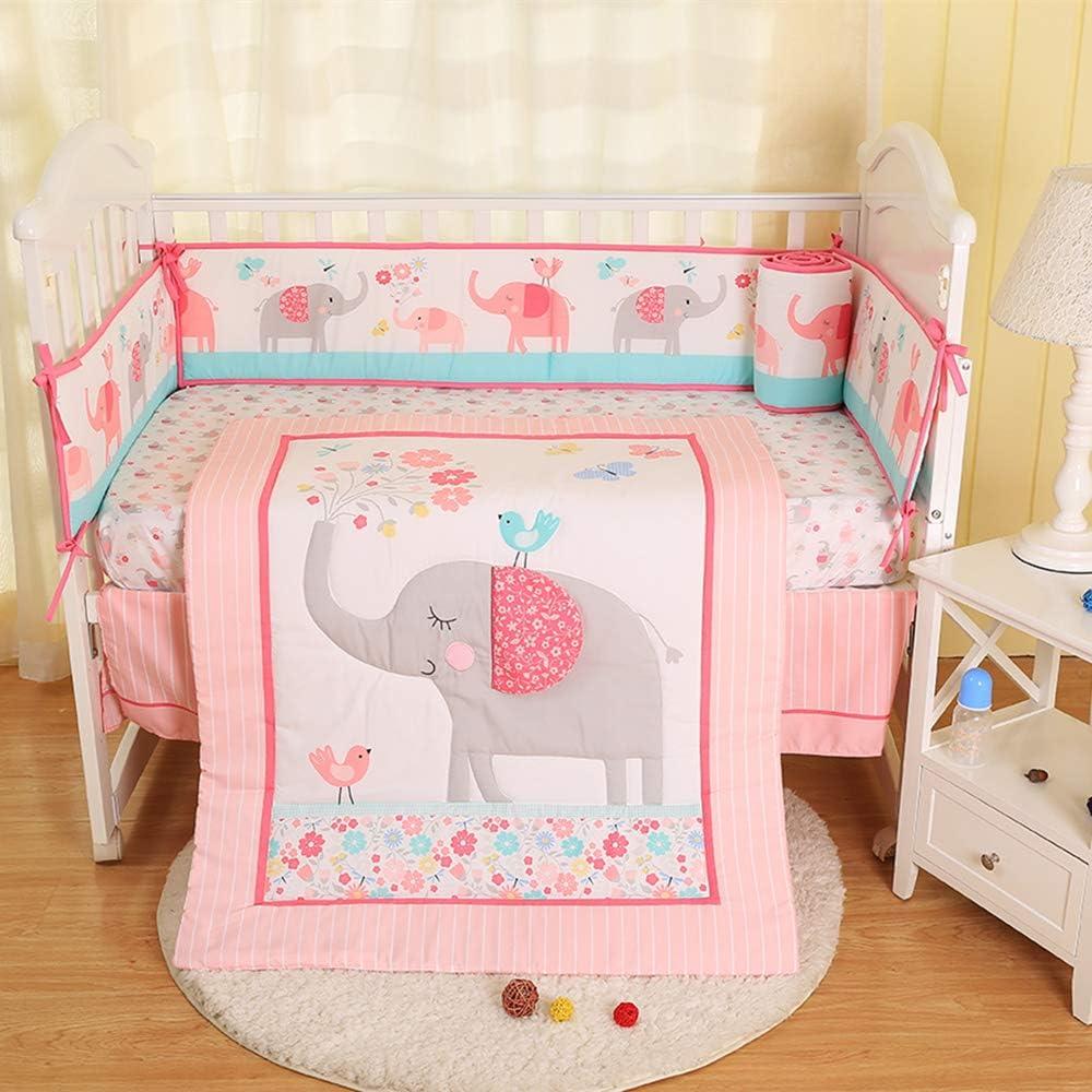 Ustide Juego de cama para cuna algod/ón 7-piece Mariposa rosa.