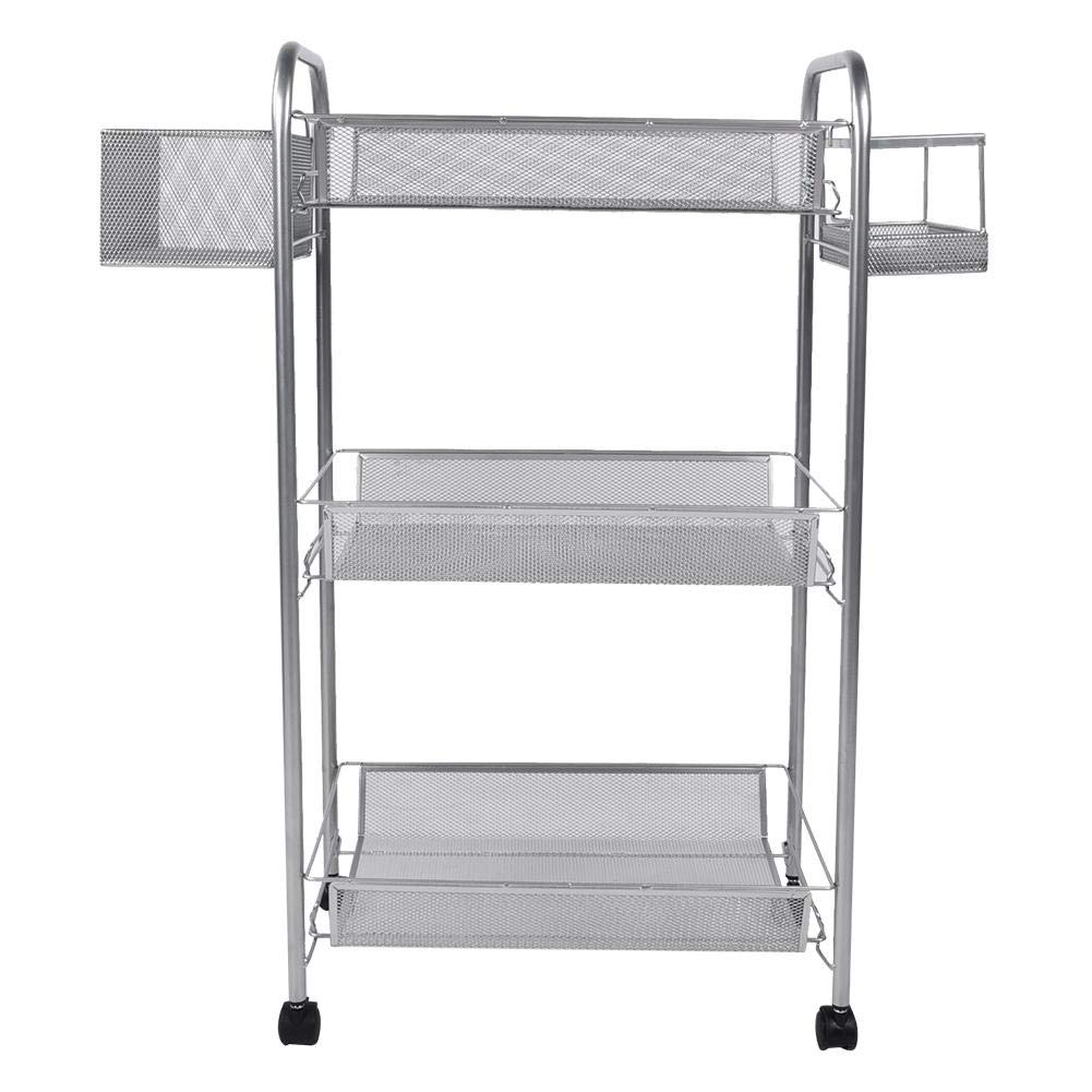 HEEPDD 3-Tier Metal Rolling Utility Cart, Drawing Tool Mesh Wire Rolling Cart Easy Moving Cart Office Storage Art Accessories by HEEPDD