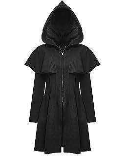 Punk Rave Womens Long Gothic Coat Jacket Cloak Black Faux Fur Victorian LARP GOT
