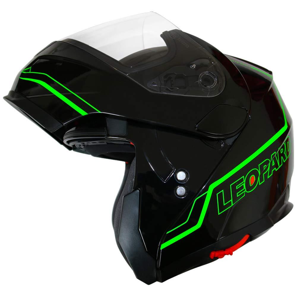 57-58cm Leopard LEO-838 Safari Fullface Helm Klapphelm Jethelme Motorrad Roller mit Doppelvisier Motorradhelm Damen und Herren Integralhelm ECE Genehmigt Schwarz Pink M