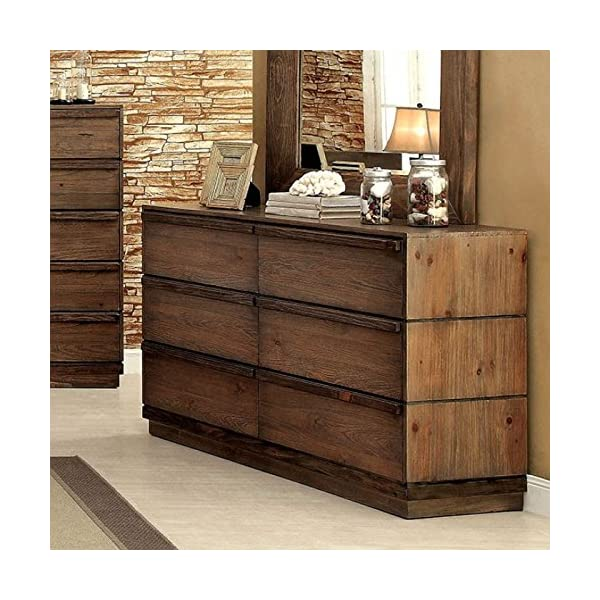 Coimbra Collection Modern Low Profile Bedframe Queen Size Bed Dresser Mirror Nightstand 4pc Set Bedroom Furniture Rustic…