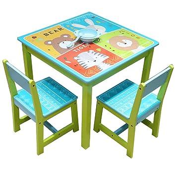Style home 3tlg. Kinder Sitzgruppe 1 Tisch & 2 Stühle Holz ...