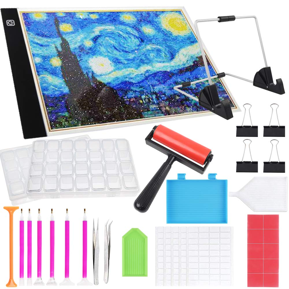 SGHUO 34 Pieces Diamond Painting Tools Including Dimmable A4 LED Light Pad Board, Diamond Painting Roller, Diamond Embroidery Box, Point Drill Pen, Stand Holder, Plastic Tray, Tweezers, Clips, etc. by SGHUO