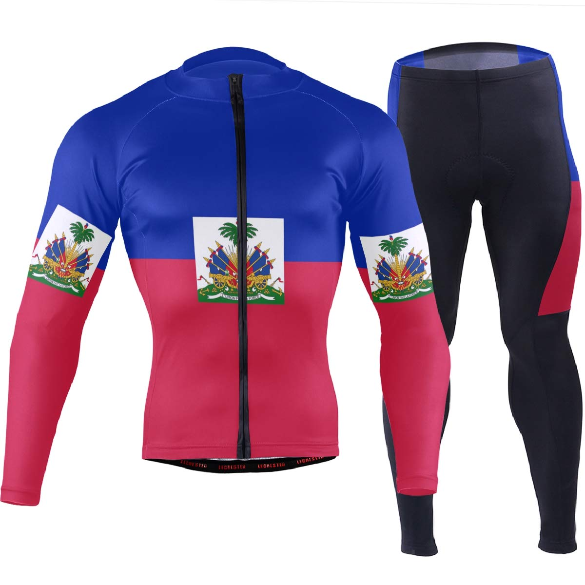 CHINEIN Men's Cycling Jersey Long Sleeve with 3 Rear Pockets Suit Haiti Flag by CHINEIN
