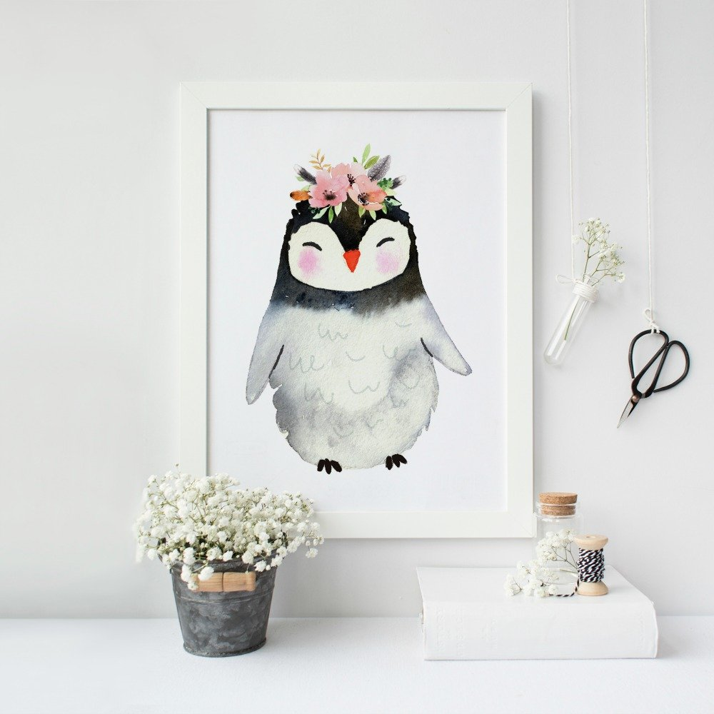 Baby Girl Nursery Decor Amazon.com: Baby Girl Nursery Decor, Penguin Nursery Print only unframed,  Different sizes available: Handmade