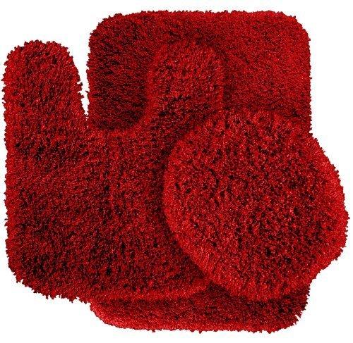Garland Rug 3-Piece Serendipity Shaggy Washable Nylon Bathroom Rug Set, Chili Pepper Red by Garland Rug ()