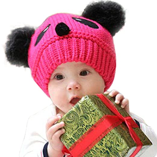 Baby Panda Cap,Misaky Kids Girls Boys Stretchy Warm Winter Hat Beanie (Hot  Pink 8875ea89010