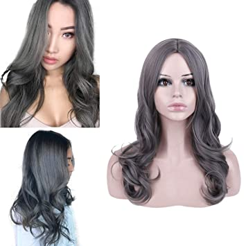 Amazon Com Becus Medium Length Wavy Middle Part Curly Hair Heat Resistant Synthetic Fiber Wigs For Women None Lace Front Dark Grey 19 Inches Beauty