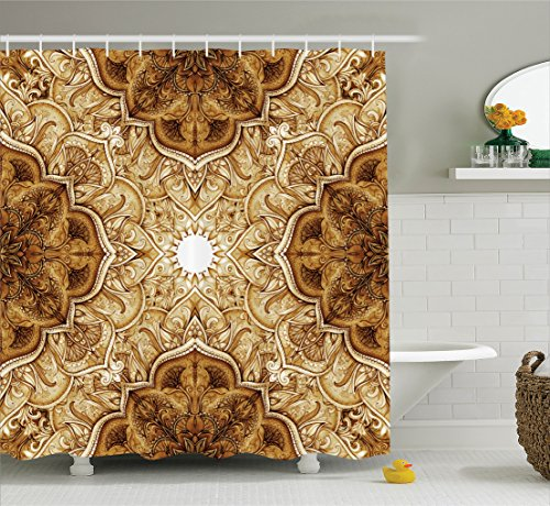 Antique Shower Curtain by Ambesonne, Vintage Style Leaf Pattern Classic Eastern Architectural Elements Folk Artwork, Fabric Bathroom Decor Set with Hooks, 70 Inches, Brown Cream (Architectural Leaves)