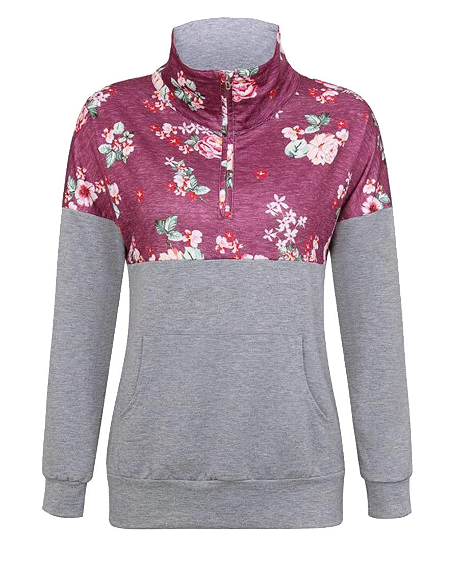 Cromoncent Womens Casual Camouflage Long Sleeve Pocket Pullover Sweatshirts
