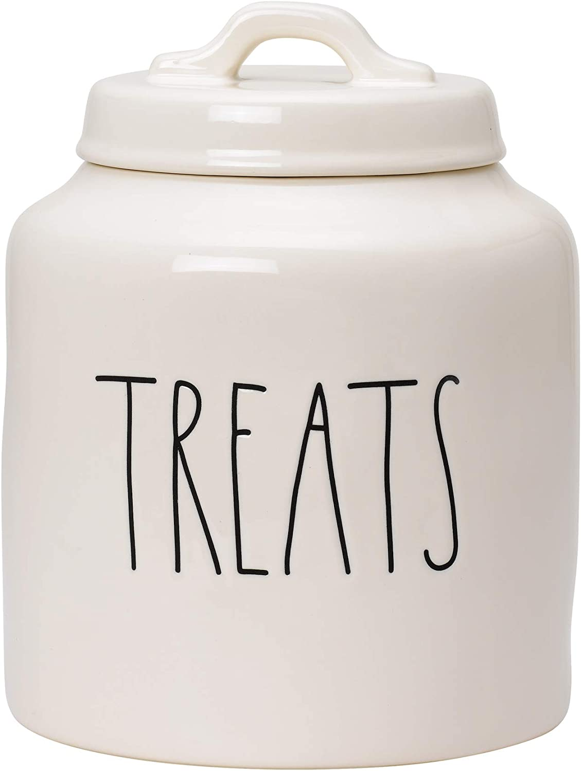 RAE DUNN Cookie Jar, Ceramic Treats Food Container for Cookies or Dog Biscuits, Kitchen Pottery Accents, Snack Canister with Sealed Lid (5.5