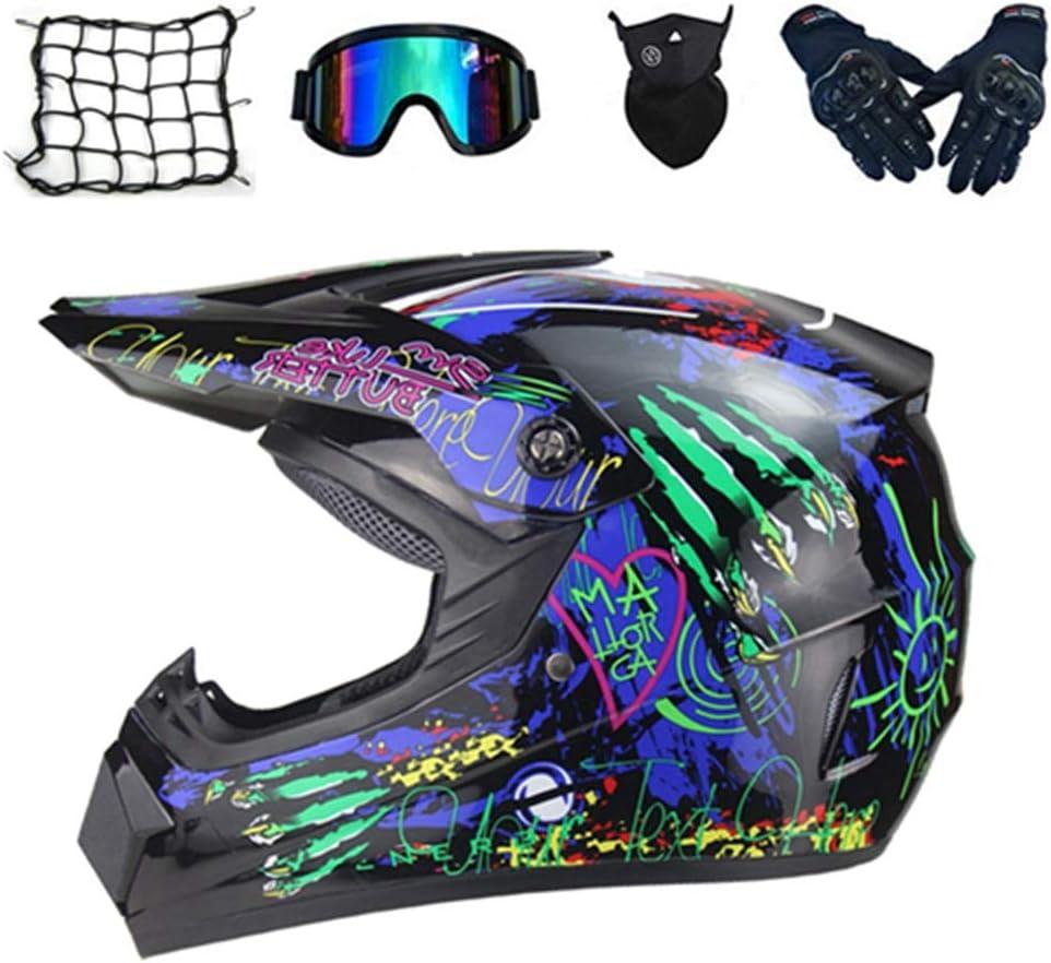 Geschenk SKTLBB-Motorradhelm Motocross Helm Set,Motorrad Crosshelm mit Brille 5 St/ück Mountain Motocross Helm A, S ,personalisierter Helm f/ür urbanes Motorrad