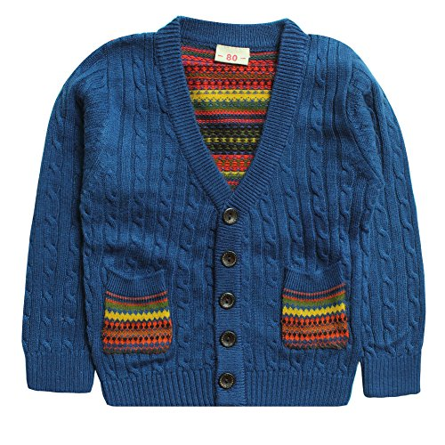 eTree Little Boys' Cardigan Cashmere Knitting Sweater Clothes Size 6 Blue