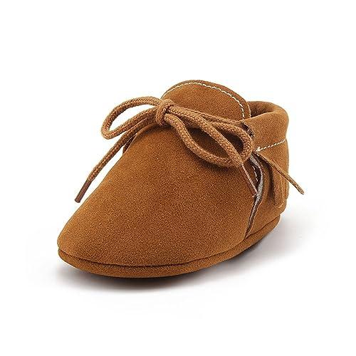 OOSAKU Zapatos Recién Nacidos Infantiles de Bebés, Mocasines con Cordones de Suela Suave, Zapatos con Cuna Prewalker: Amazon.es: Zapatos y complementos