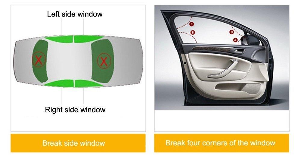 2 Pack Car Safety Hammer, Window Breaker, Emergency Escape Tool Hammer, 3-in-1, Heavy-Duty for Car, SUV, Truck-by STYCC (Black)